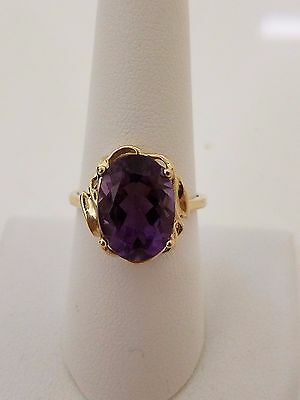Vintage Art Deco 10k solid gold signed T+C amethyst ring art deco style