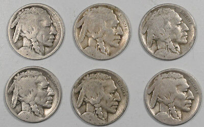 1915S-1925S Buffalo Nickels - Lot/6, Partial Dates Circulated Examples