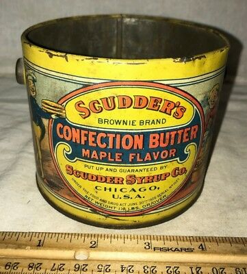 Antique Scudder Syrup Confection Butter Maple Tin Litho Palmer Cox Brownie Can