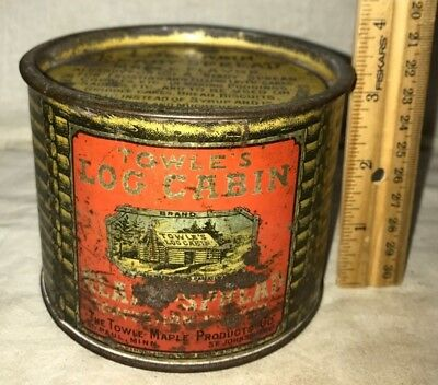 Antique Towles Log Cabin Confection Butter Tin Litho Can St Paul Mn Maple Syrup
