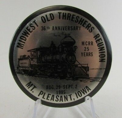 1985 Midwest Old Settlers and Threshers Association Reunion Pinback Button