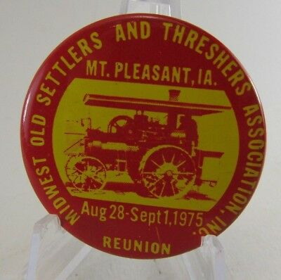 1975 Midwest Old Settlers and Threshers Association Reunion Pinback Button