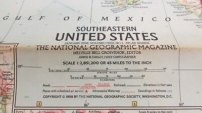 Original January 1958 National Geographic Society SOUTHEASTERN UNITED STATES map