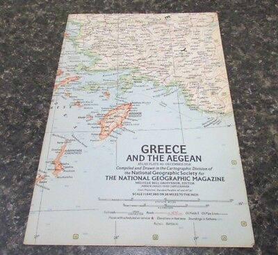 Original December 1958 National Geographic Society GREECE & THE AEGEAN map