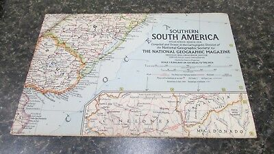 Original March 1958 National Geographic Society SOUTHERN SOUTH AMERICA map