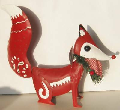 "Red & White Metal Fox with Christmas Wreath & Gingham Bow 11"" Tall Modern NEW"