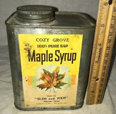 Antique Cozy Grove Maple Syrup By Slim & Wen Algona Ia Tin Pancake Breakfast Can