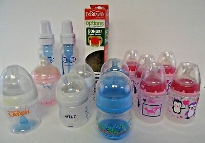 Mixed Lot 14 Baby Bottles Dr Browns NUK Avent Munchkin Latch Nuby w Nipples Lids