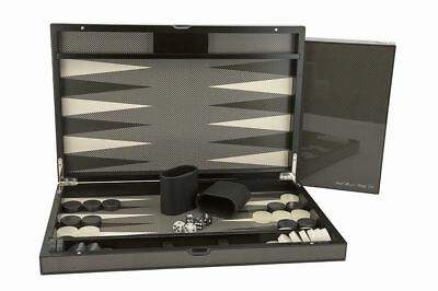 "Dal Rossi 15"" Carbon Fibre Finish Backgammon Set EXTRA 5% OFF USE PERCENT5"