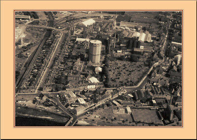INVERNESS GAS WORKS - Rare Aerial Photo 5 x 7 Mounted Print Postcard