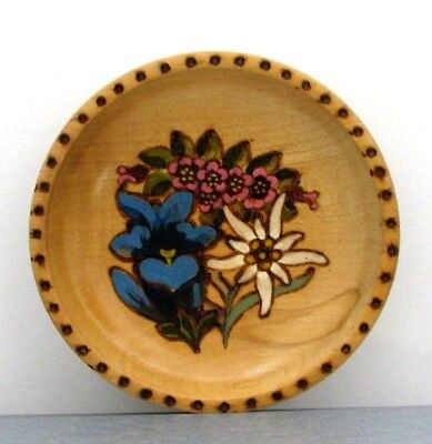 Hand painted wood-burned WOOD PLATE edelweiss gentian alpine rose pyrography #2