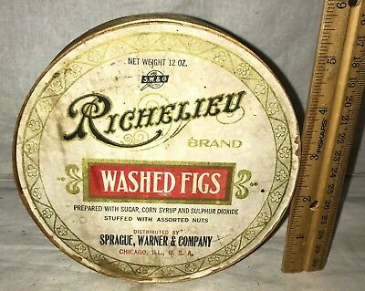 Antique Richelieu Washed Figs Wood Box Sprague Warner Chicago Grocery Store Old