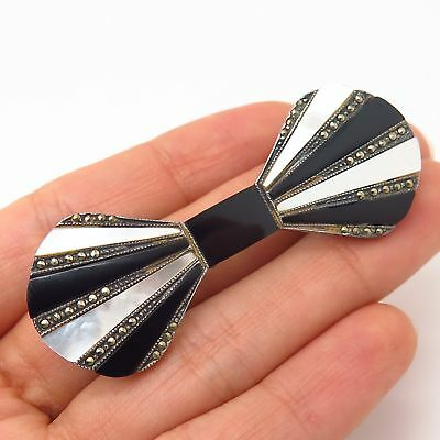 925 Sterling Real Black Onyx Marcasite & Mother-of-Pearl Bowtie Pin Brooch