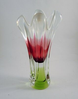 Vintage Czech Bohemian Art Glass Vase Chribska Green Pink White