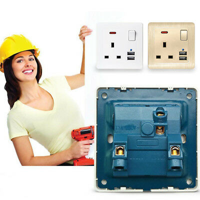 Wall Socket with USB 3.1A 2 Gang 13A High Quality and Long Lasting UK Plug qowp