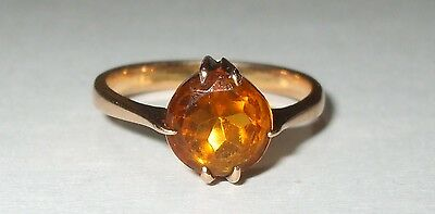Antique OLD Vintage Solid 10K Yellow Gold Amber Citrine Color Paste Ring Sz6.5