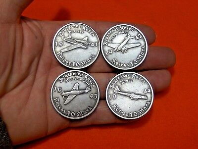 $ Deal $ Lot Of 4 - 10 Reichsmark 1941-44 German Airplane Wwii Collectible Coin