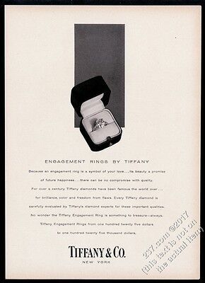 1956 Tiffany's jewelry engagement ring photo vintage print ad