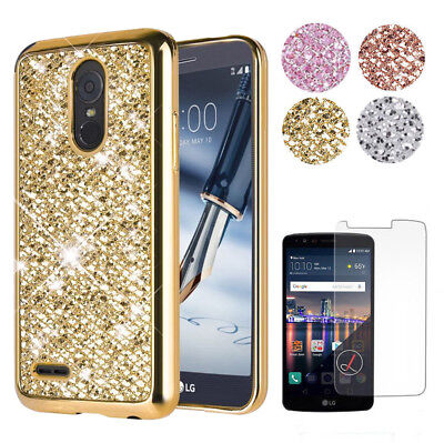 For LG Stylo 3 Plus LG Stylus 3 Bling Glitter Rubber Protective TPU Case Cover