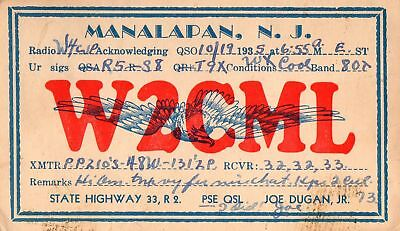 W2CML QSL Card--Manalapan, New Jersey--1935