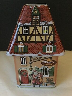 German Christmas House Tin Canister Tea Light Lantern Wicklein