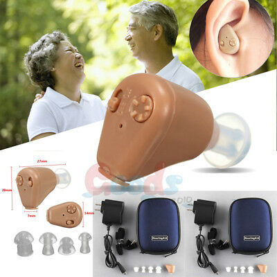 2x Hearing Aids Rechargeable Digital Sound Amplifier ITE Mini Invisible Tone Aid