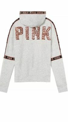 bdc1d74aa20e2 NEW VICTORIA'S SECRET PINK Bling Sequins Perfect Full-Zip Hoodie ...