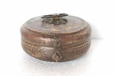 1900's Old Brass Carved Round Inlay Engraved Handcrafted Bread/Jewellery Box Y76