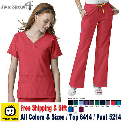 Wonderwink Scrubs Satz Vier Stretch Uniform Y-Ausschnitt Top & Cargo-Hose _