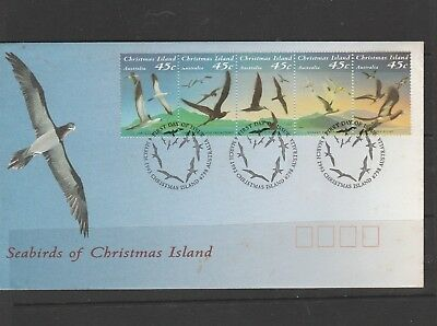 """Seabirds of Christmas Island."" First Day Cover. 5 x 45c. Stamps. See Photo."