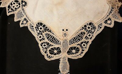EXQUISITE antique 19th CENTURY BOBBIN TAPE LACE BUTTERFLY LINEN cutwork