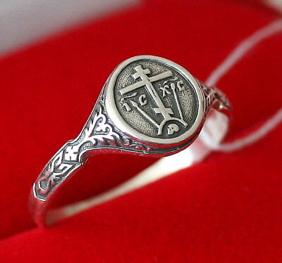 Christian Prayer Ring with a Cross.Sterling SIlver 925. Russian Orthodox Jewelry