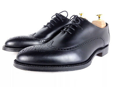 94cc1823 LOAKE 1880 ENGLAND Beaufort Black Calf Leather Brogue Oxford UK 7 G ...