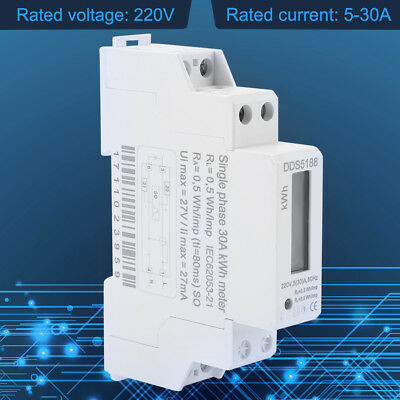New Digital LCD 220V Single Phase DIN-Rail 5-30A Electronic Energy KWh Meter