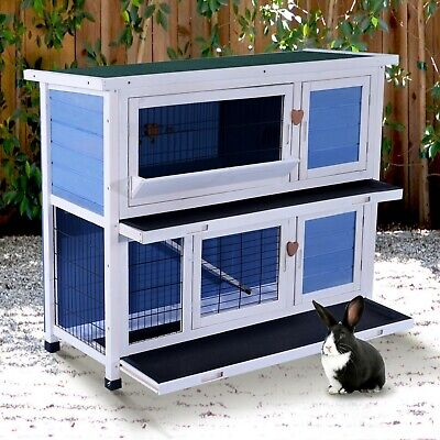"40"" Wooden Bunny Chicken Guinea Pig Pet Cage Small Run Ramp Ladder 2 Storeys"