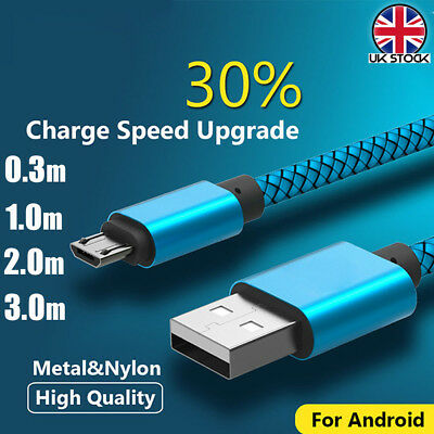 UK Heavy Duty Braided Fast Charge Micro USB Data Sync Cable For SAMSUNG S6 S7
