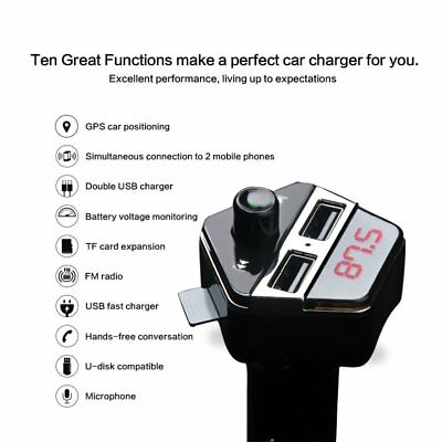 Dual USB 4.2A Bluetooth Car Charger Adapter Fast Charging GPS Tracker Mp3 Z