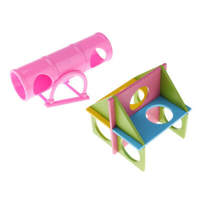 Set of 2, Cage House Hide Play Pet Tunnel Gym Toys For Hamster Gerbil Rat