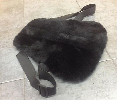 SHEEPSKIN non-slip Medium SEAT COVER PAD motorcycle BLACK motorbike