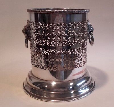 Antique Vintage Sheffield Silver Plate Wine Coaster / Holder with Lion Handles