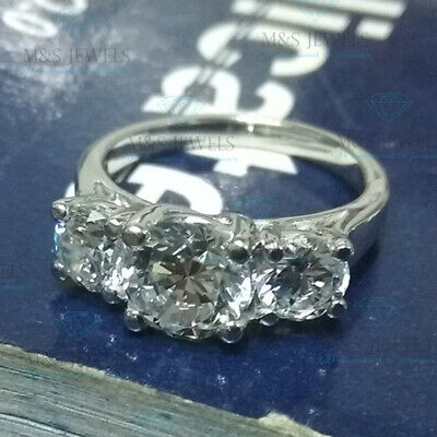 14K White Gold Fn 3 Stone 2Ct Round-Cut 7MM Moissanite Solitaire Engagement Ring