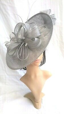 Silver grey metallic Hatinator ..Large saucer disc Wedding.races.