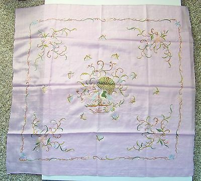 Antique / Vintage Chinese Silk Embroidered Peacock Scarf light purple-pink