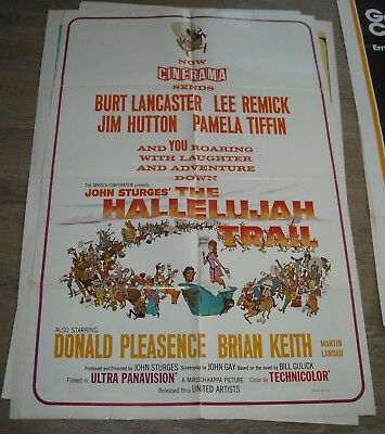 1970's The HALLELUJAH TRAIL 1 SHEET MOVIE POSTER JOHN STURGES WESTERN LANCASTER