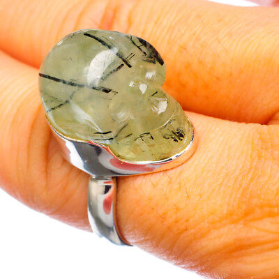 Prehnite Skull 925 Sterling Silver Ring Size 7.5 Ana Co Jewelry R924890F