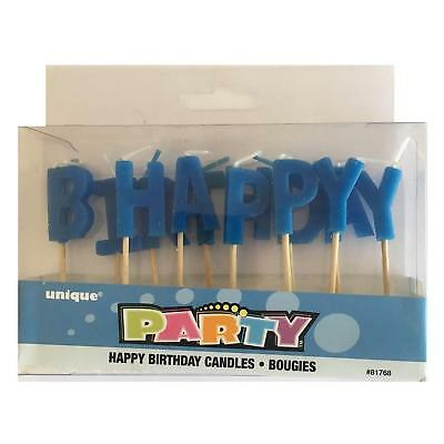 HAPPY BIRTHDAY Pick Cake Candles Set - Party Decoration - Blue Letters Boy Male