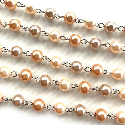 Caramel Light Brown Glass Pearl Beaded Rosary Antique Brass Eyepin Chain 8mm 2ft