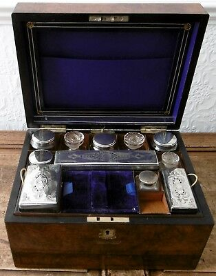 Victorian Burr Walnut Travelling box with fitted interior, English circa 1860