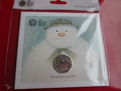 2018 Royal Mint The Snowman 50P Fifty Pence Brilliant Uncirculated Coin