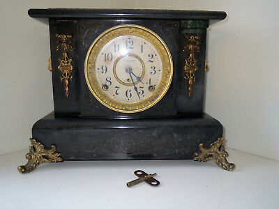 Antique SETH THOMAS Adamantine ART DECO Mantel  Clock LION HEAD sides 1900's